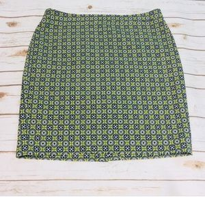 J CREW PENCIL NAVY NEON YELLOW SKIRT SIZE 12